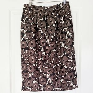 Boden silk brown and black floral pencil skirt